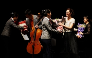 Flowers presented after the concert in Shanghai Concert Hall, China