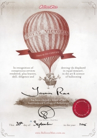 Yasmin's certificate from the International College of Balloonists