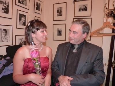 Yasmin with Sasha Levtov of the Regis School of Music, at Wigmore Hall